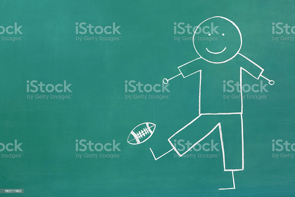 Chalk Drawing Kicking a Football stock photo