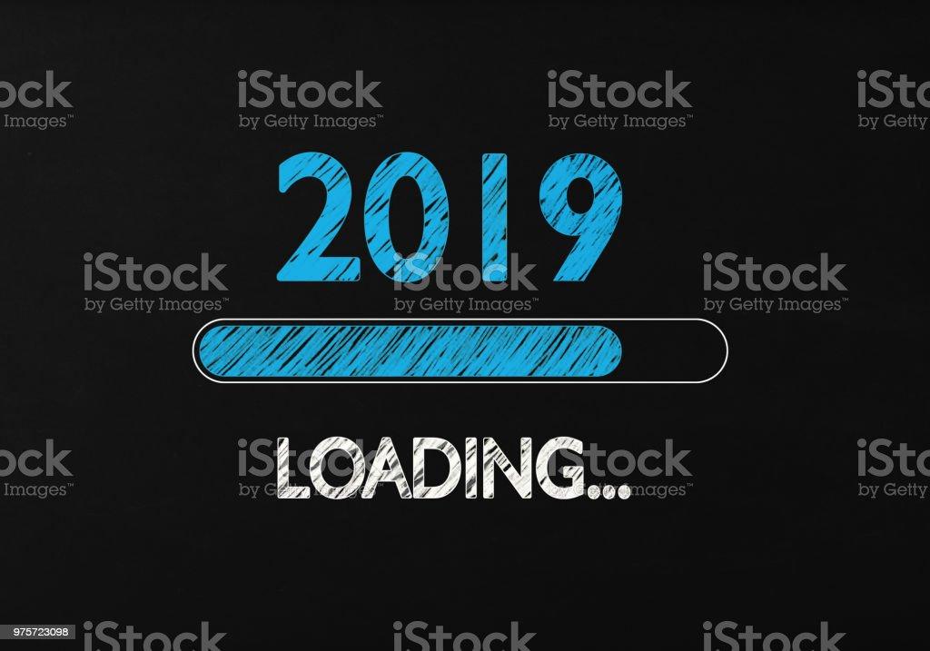 Chalk Drawing: New Year 2019 Loading On Blackboard stock photo