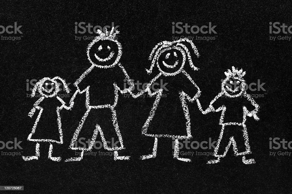 Chalk drawing of a family on a blackboard stock photo