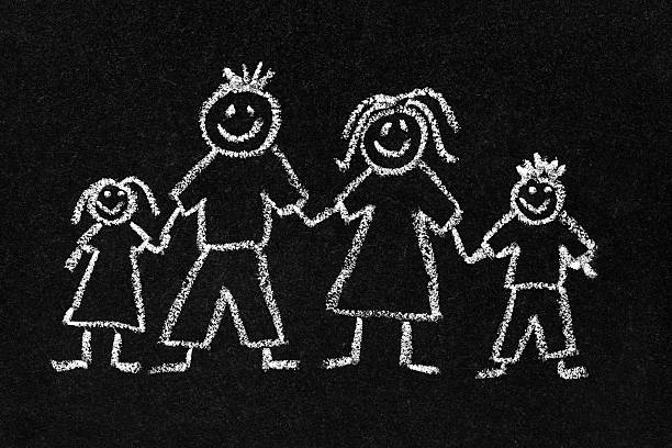 chalk drawing of a family on a blackboard - stick figure stock photos and pictures