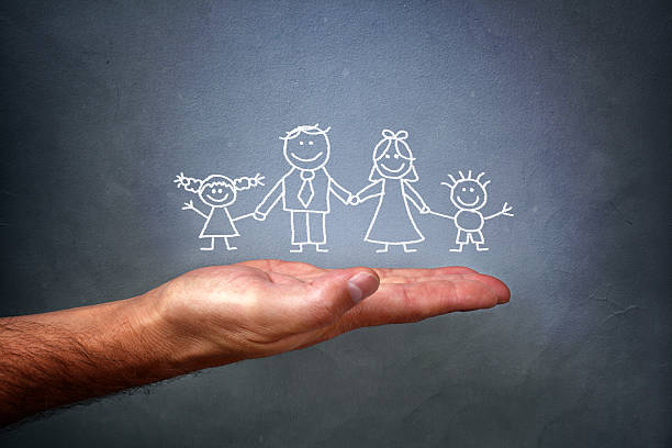 chalk drawing of a family - stick figure stock photos and pictures