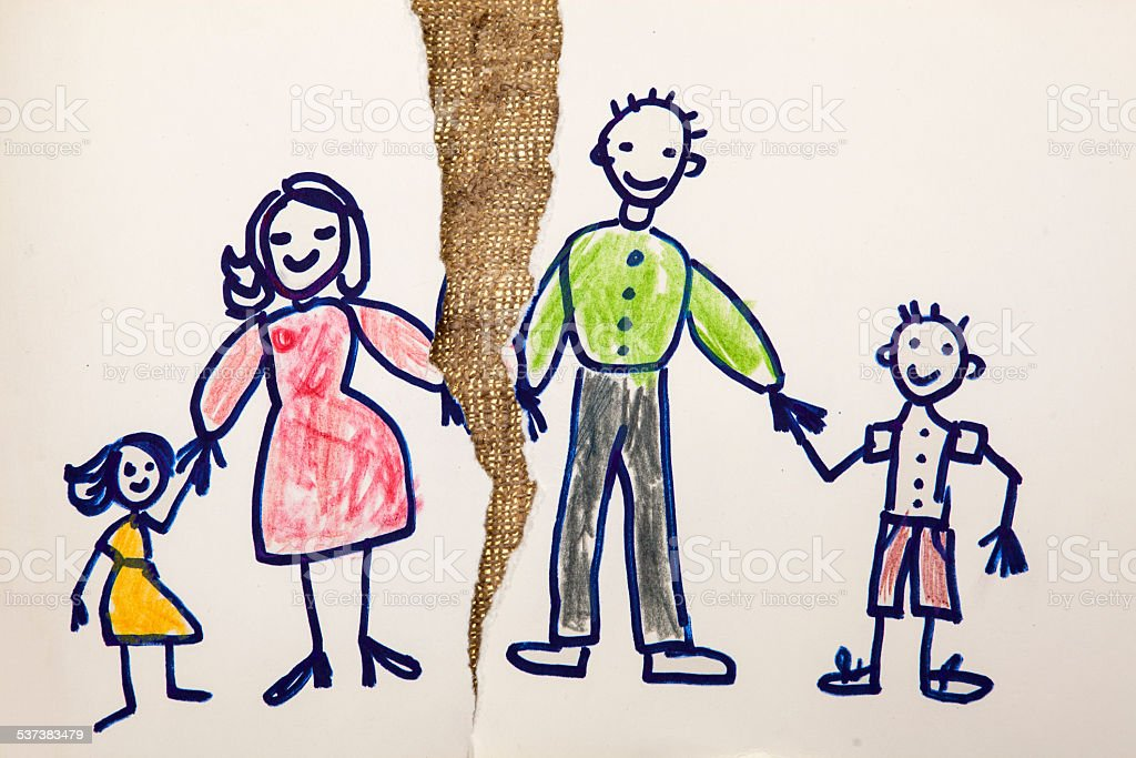 Chalk drawing of a family stock photo