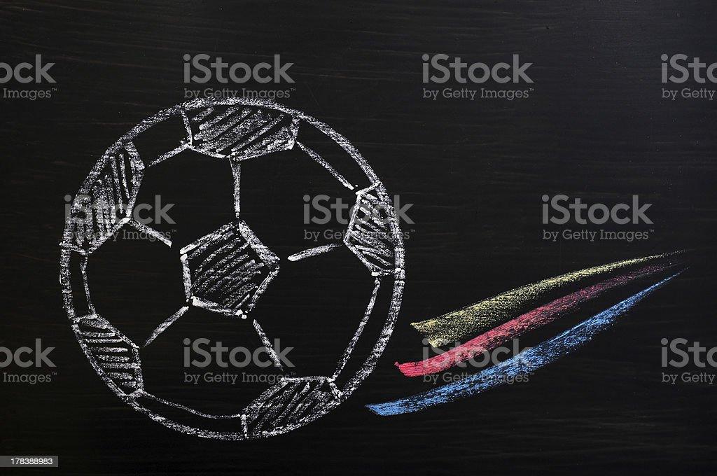 Chalk drawing of Football royalty-free stock photo