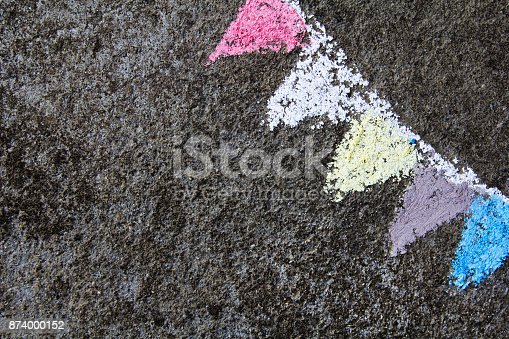 882318110 istock photo chalk drawing on asphalt: colorful  party flags or garland 874000152