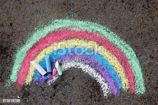 882318110 istock photo chalk drawing on asphalt: colorful rainbow 873519298