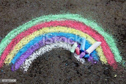 882318110 istock photo chalk drawing on asphalt: colorful rainbow 873703506