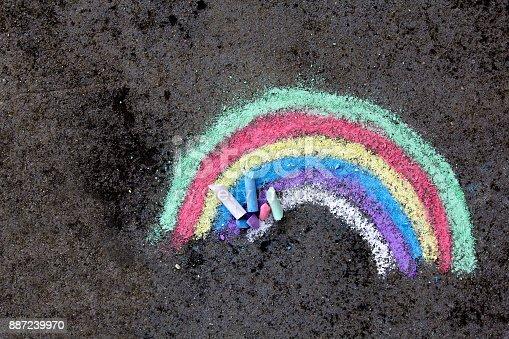 882318110 istock photo chalk drawing on asphalt: colorful rainbow 887239970