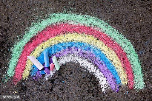 882318110 istock photo chalk drawing on asphalt: colorful rainbow 887242628
