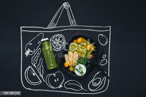 istock Chalk drawn sketch shopping bag with healthy food 1081362252