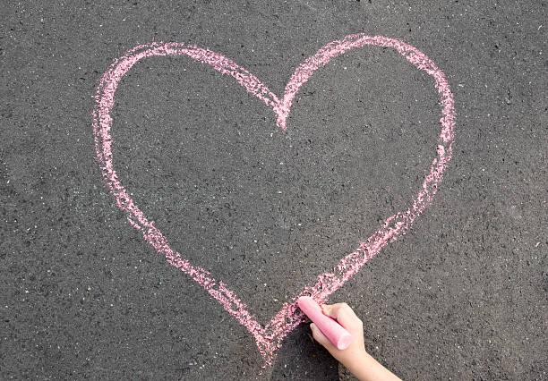 chalk heart stock photo