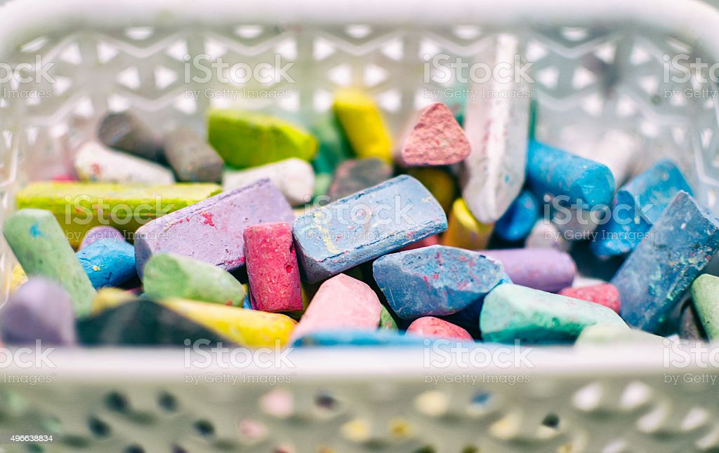 Chalk in Basket stock photo