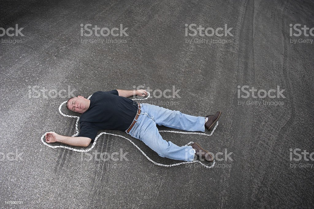 Chalk line and man stock photo