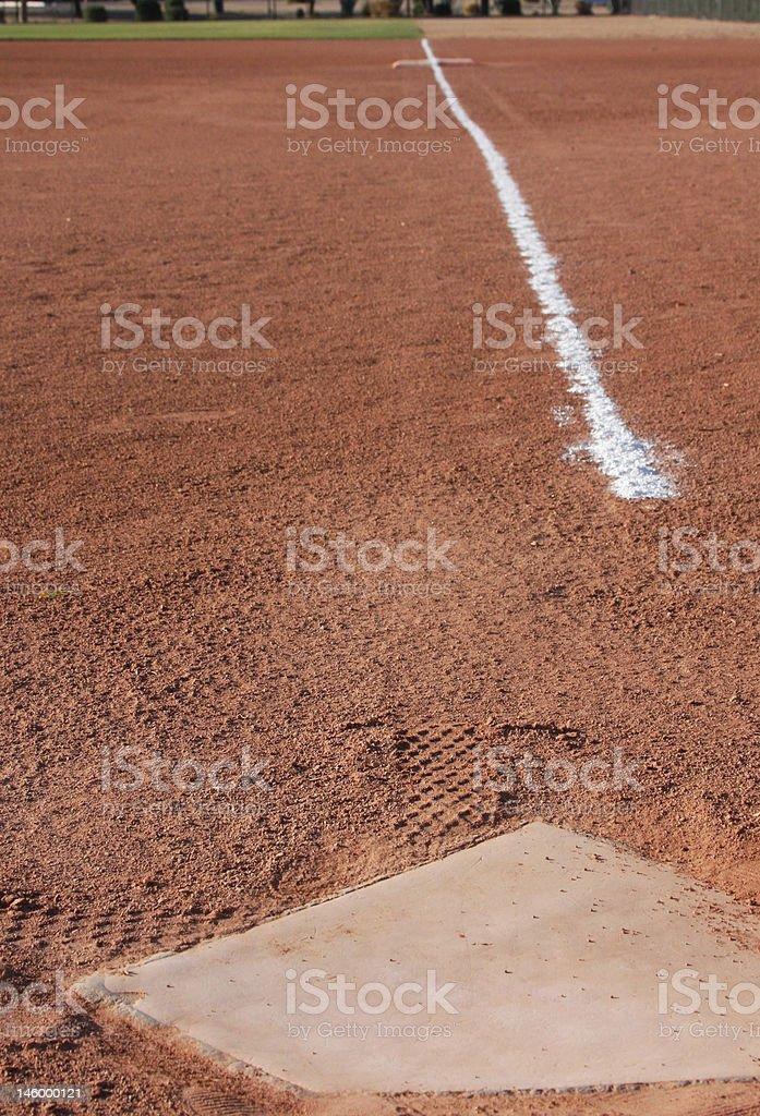 Chalk line to 1st base stock photo