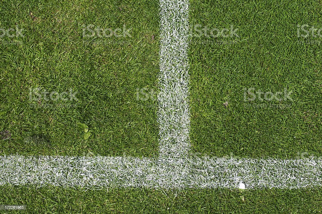 Grass court tennis down the middle service T stock photo