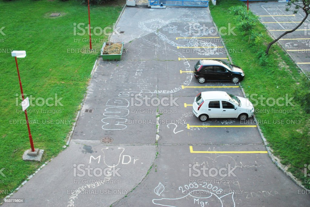 chalk markings on a car park stock photo more pictures of