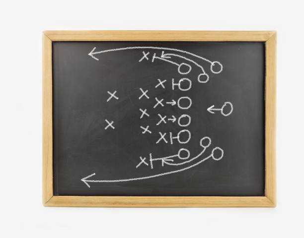 chalk on blackboard graphic a tactics of  american football game with white chalk on blackboard isolated on white background. All screen content is designed by us and not copyrighted by others and created with digitizing tablet and image editor advanced tactical fighter stock pictures, royalty-free photos & images