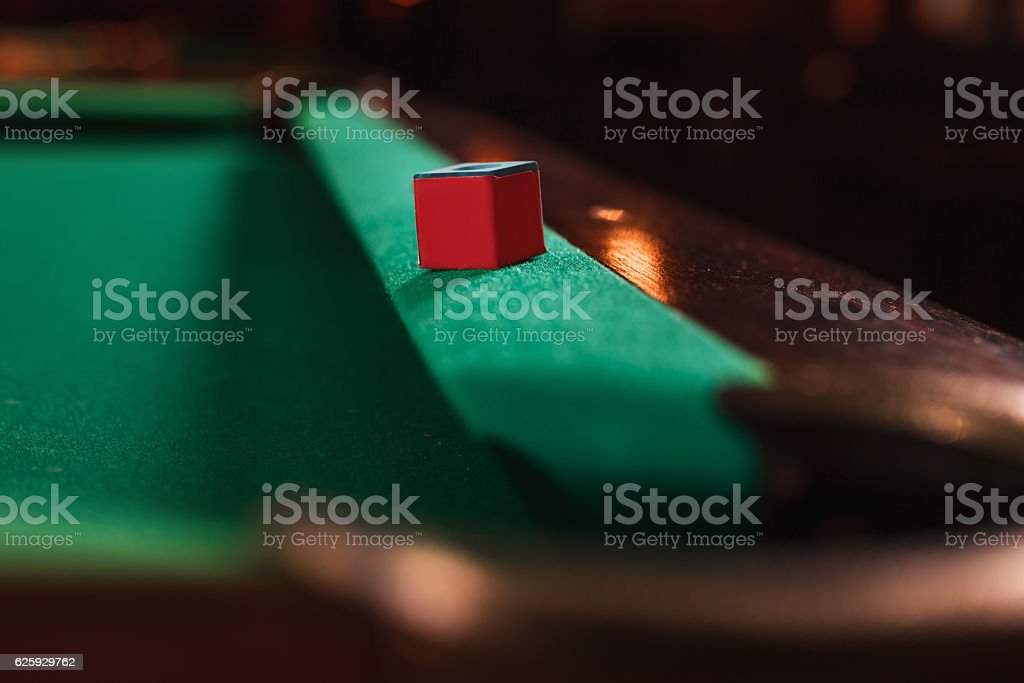 Chalk on the edge of the billiard table. - foto de acervo
