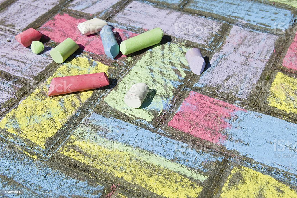 Chalk on the ground royalty-free stock photo