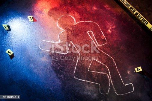 fresh crime scene at night