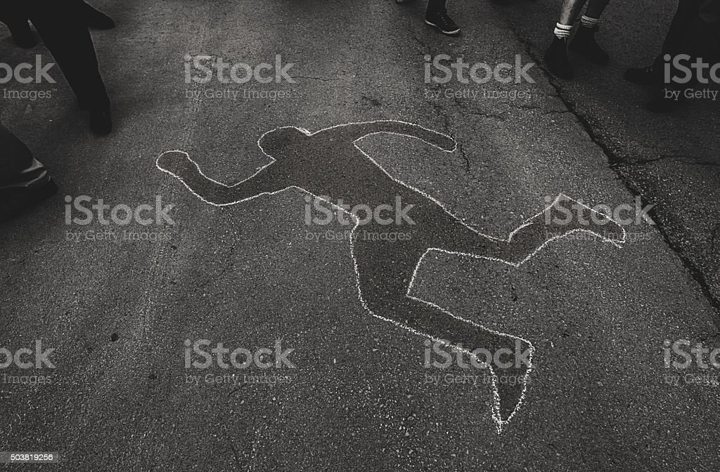 Chalk Outline at Protest stock photo