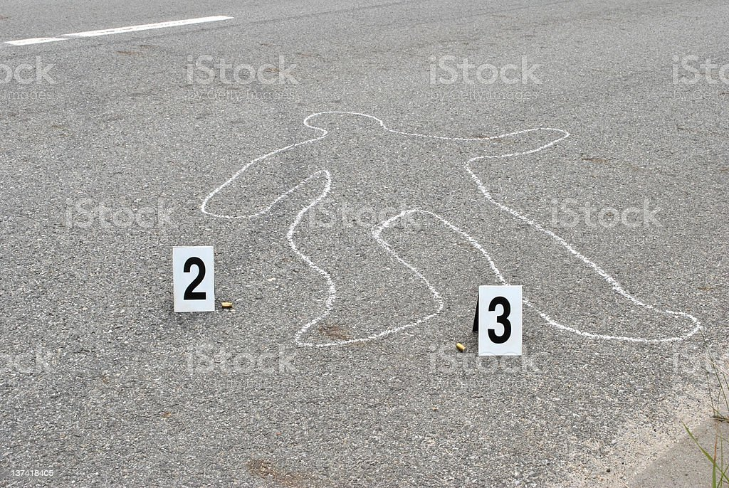 Chalk outline stock photo