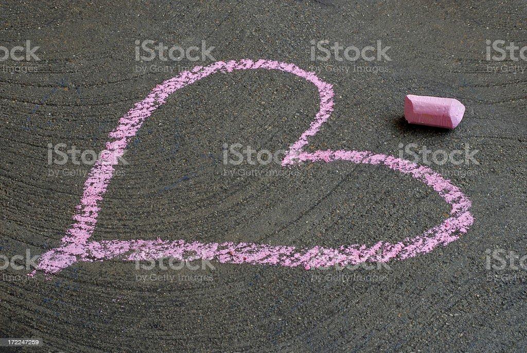 Chalk Pink Heart stock photo
