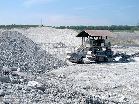chalk quarry mine with stone crusher machine.