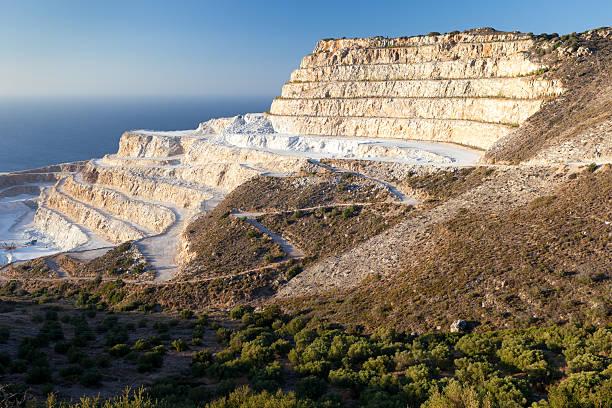 Chalk quarry on the island of Crete stock photo