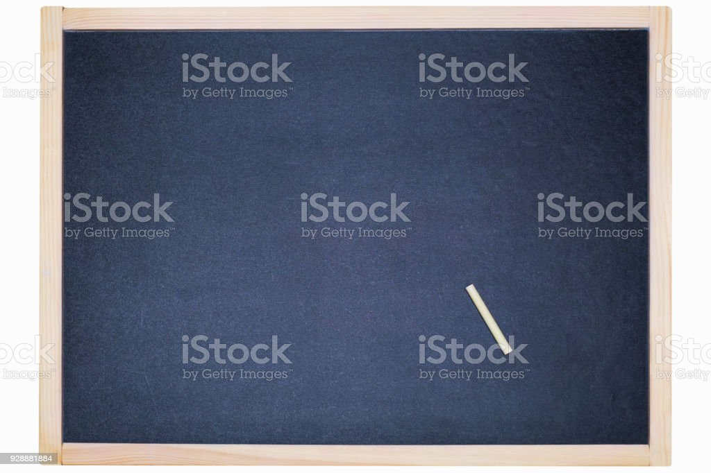 Chalk rubbed out on blackboard for background. Empty blank black chalkboard with chalk stock photo
