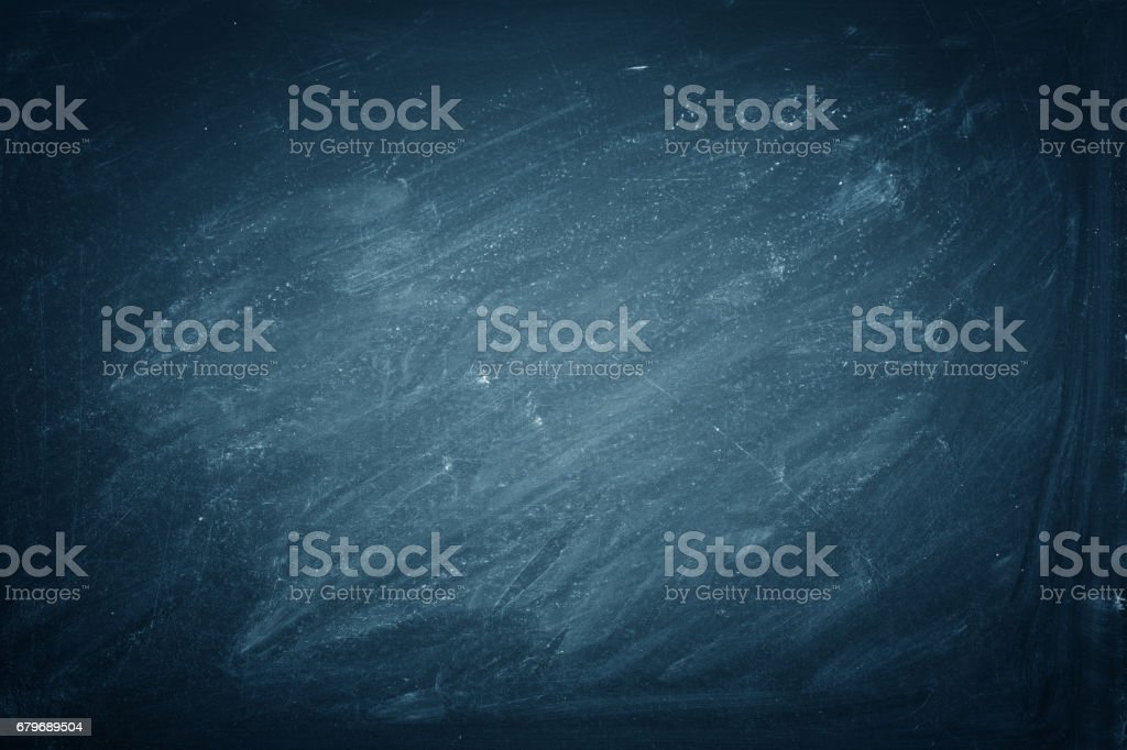 Chalk rubbed out on blue blackboard background, texture - Photo