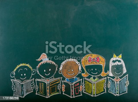 istock Chalk sketch of multi-ethnic group of children 173166259