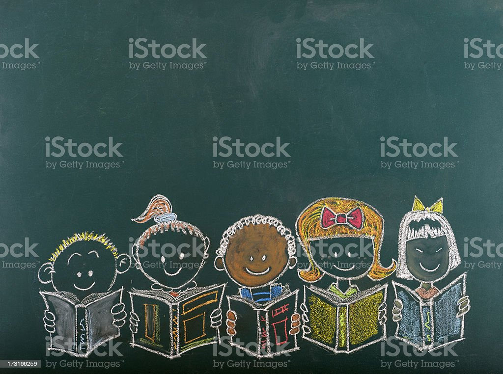 Chalk sketch of multi-ethnic group of children stock photo