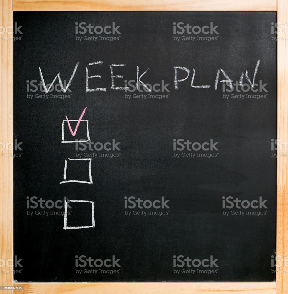chalk week plan check boxes royalty-free stock photo