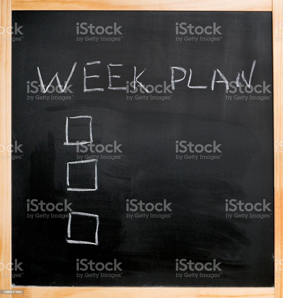 chalk week plan empty check boxes royalty-free stock photo