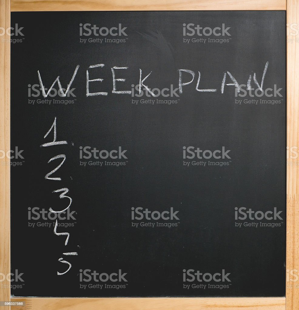 chalk week plan numeric list royalty-free stock photo