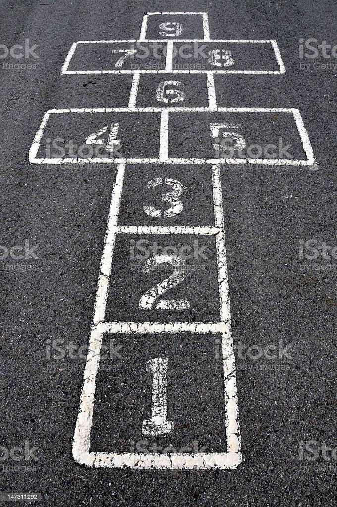 Chalk written hopscotch board on asphalt stock photo