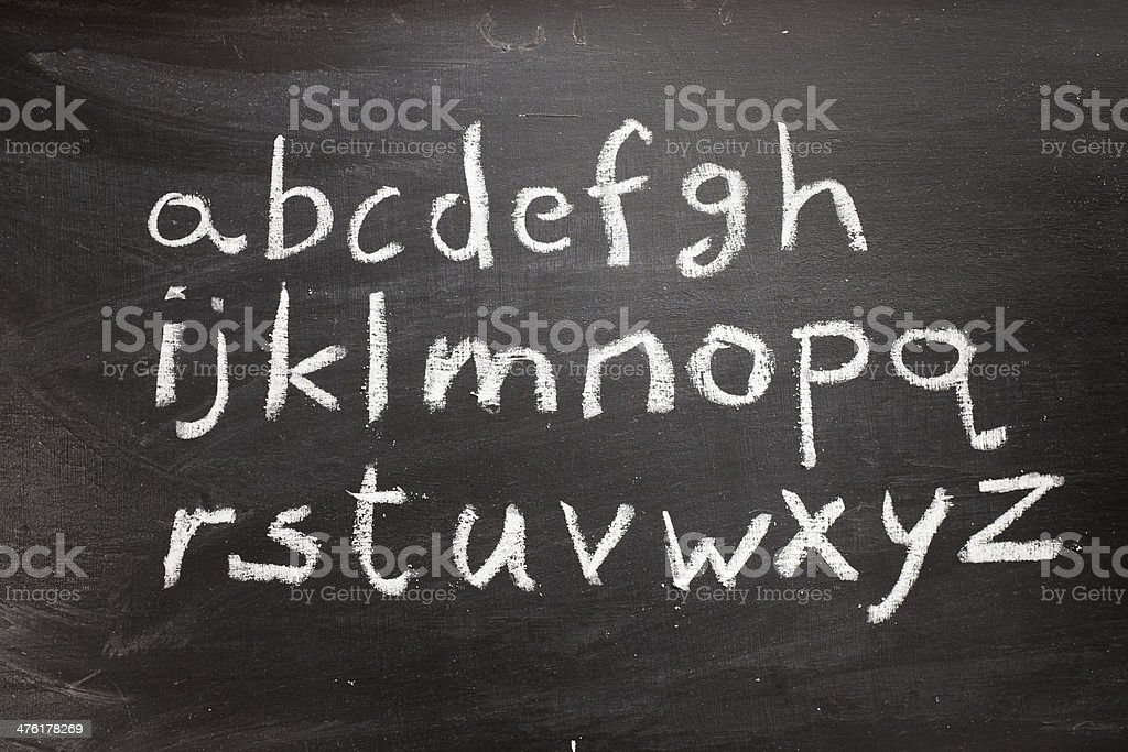 Chalkboard alphabet stock photo