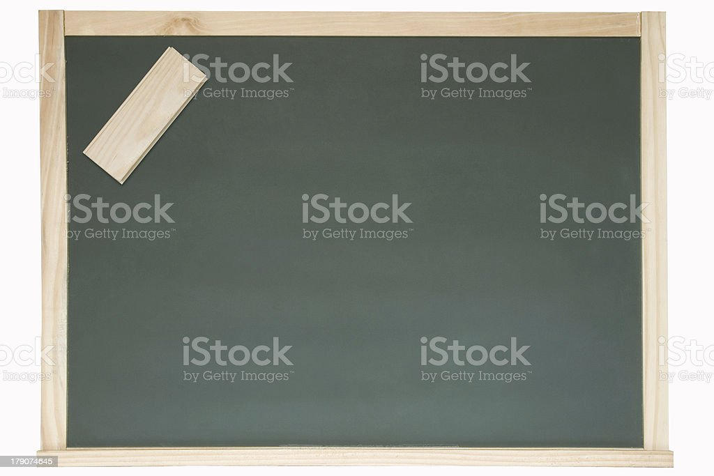 Chalkboard and eraser stock photo