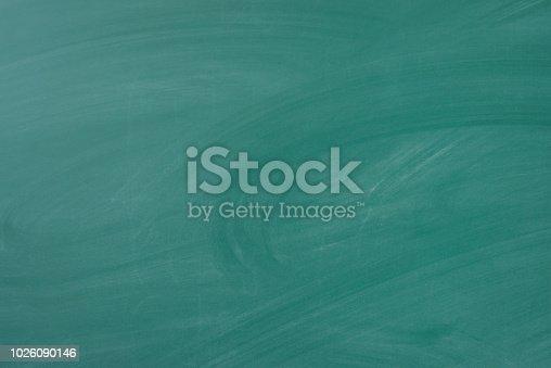 istock Chalkboard Blackboard Chalk rubbed out on school board. 1026090146