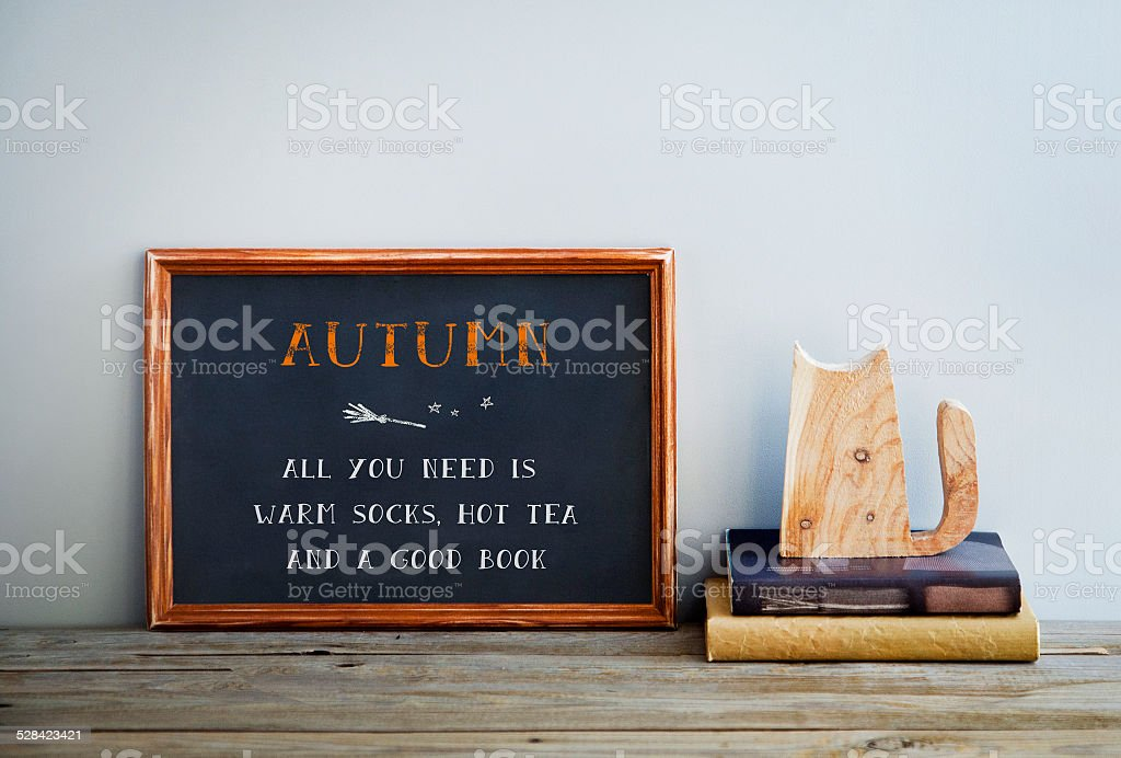chalkboard frame on the grey wall with books and cat - ALL