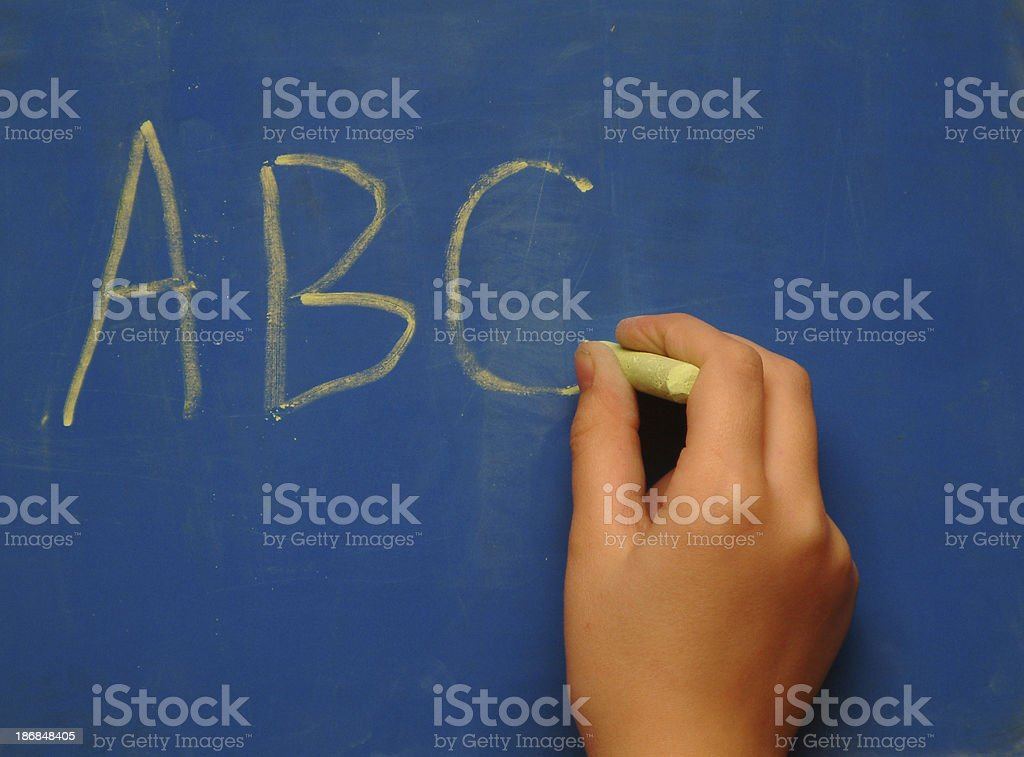 Chalkboard Hand with ABC royalty-free stock photo