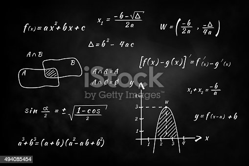 istock Chalkboard, hand writing and solving math problems 494085454