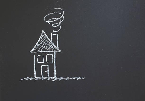 Chalkboard illustration of a house stock photo