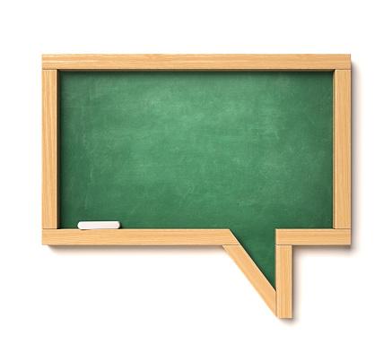 istock Chalkboard in a speech bubble shape, school blackboard message concept 1069581886