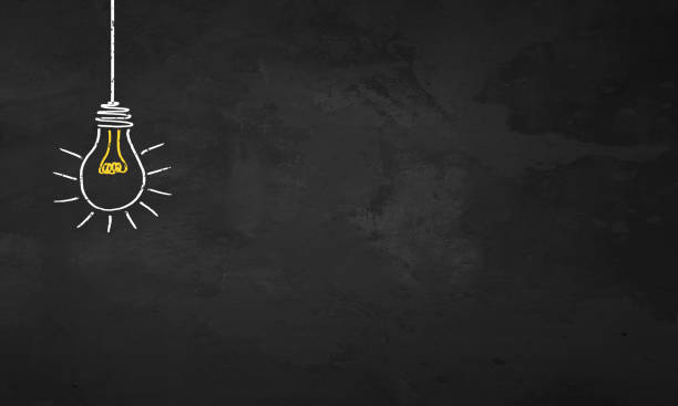 chalkboard light bulb - insights stock pictures, royalty-free photos & images
