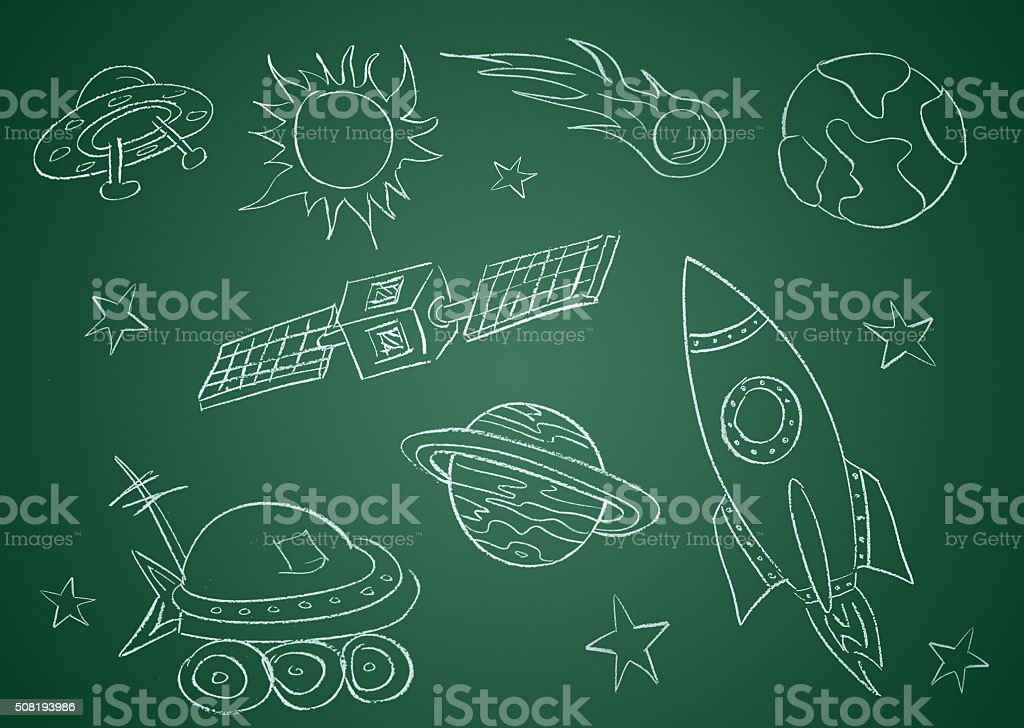 This is a photo of a green chalkboard with outerspace drawing on in...