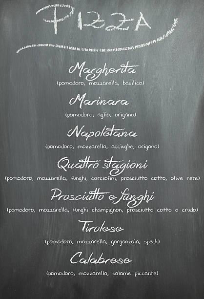 tafel pizza menü - italienische speisekarte stock-fotos und bilder