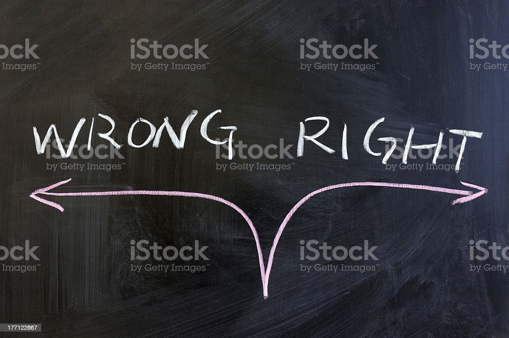 A chalkboard that says right and wrong royalty-free stock photo