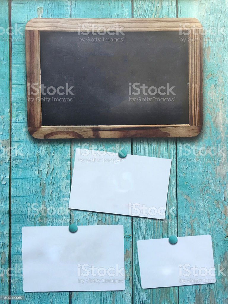 Chalkboard with brown frame stock photo
