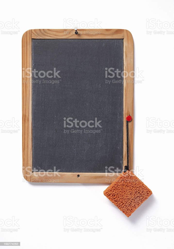 Chalkboard with eraser stock photo